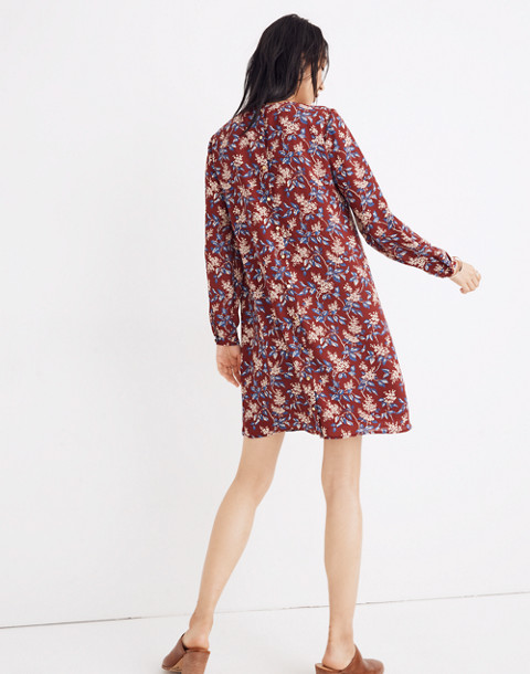 Button-Back Dress in Antique Flora in october dusty burgundy image 3