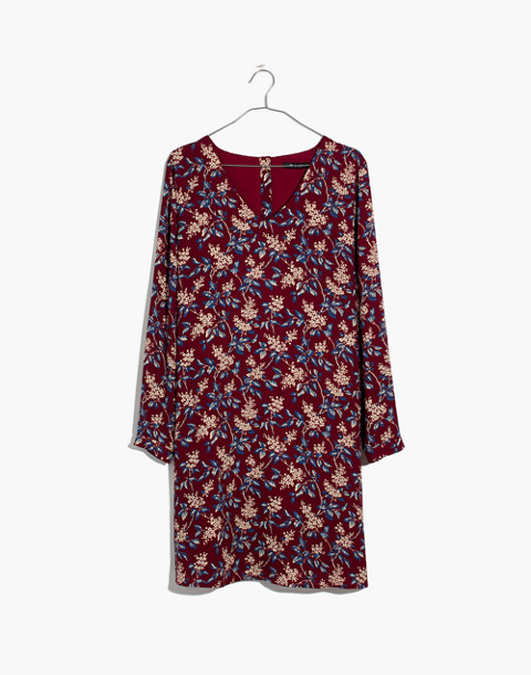 Button-Back Dress in Antique Flora in october dusty burgundy image 4