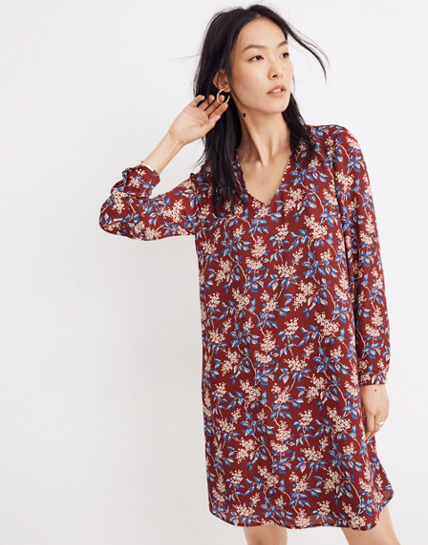 Button-Back Dress in Antique Flora in october dusty burgundy image 1