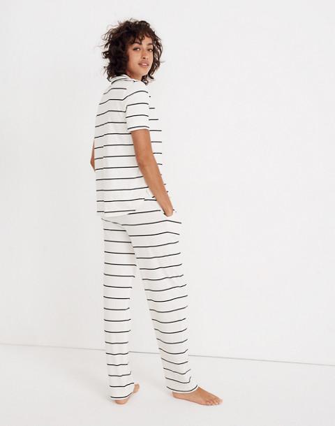 Knit Bedtime Pajama Top in Stripe in bright ivory image 3