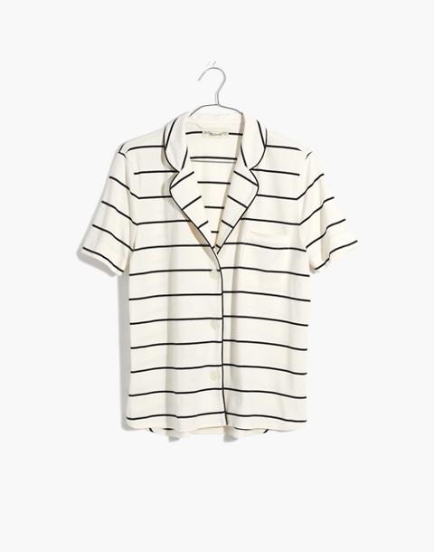 Knit Bedtime Pajama Top in Stripe in bright ivory image 4
