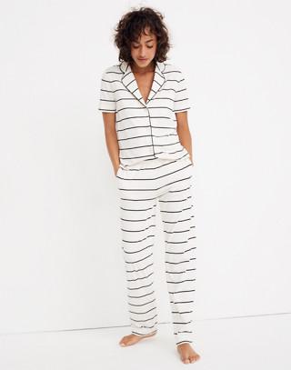Knit Bedtime Pajama Pants in Stripe in bright ivory image 2