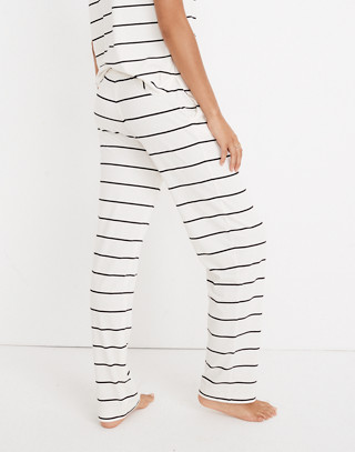 Knit Bedtime Pajama Pants in Stripe in bright ivory image 3