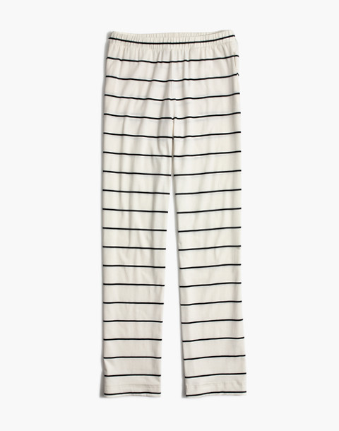 Knit Bedtime Pajama Pants in Stripe in bright ivory image 4