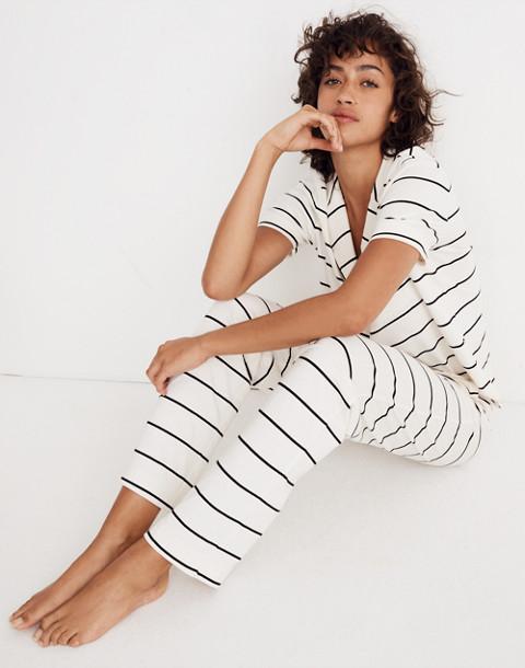Knit Bedtime Pajama Pants in Stripe in bright ivory image 1