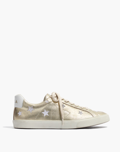 Madewell x Veja™ Esplar Low Sneakers in Star-Embroidered Gold Leather in gold white image 3