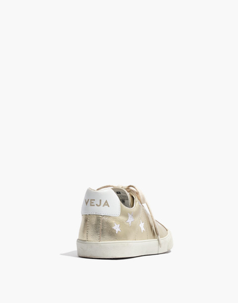 Madewell x Veja™ Esplar Low Sneakers in Star-Embroidered Gold Leather in gold white image 4
