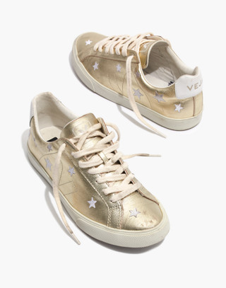 Madewell x Veja™ Esplar Low Sneakers in Star-Embroidered Gold Leather in gold white image 1