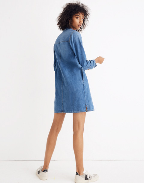 Denim Popover Shirtdress in pelham wash image 3