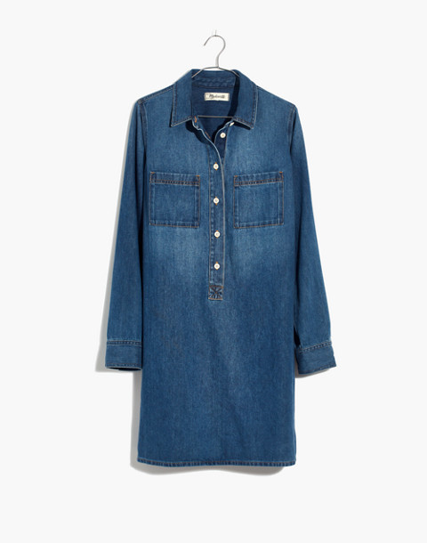Denim Popover Shirtdress in pelham wash image 4