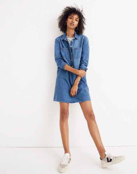 Denim Popover Shirtdress in pelham wash image 1