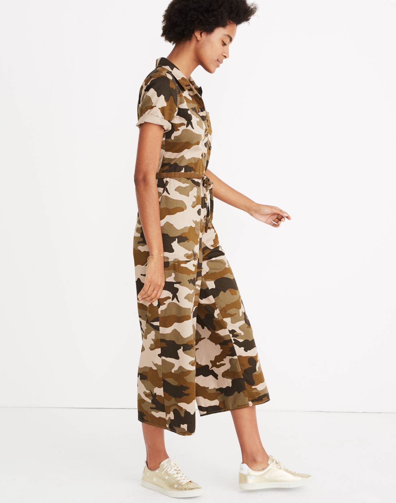 Wide-Leg Utility Jumpsuit in Cottontail Camo in bunny camo asparagus image 2