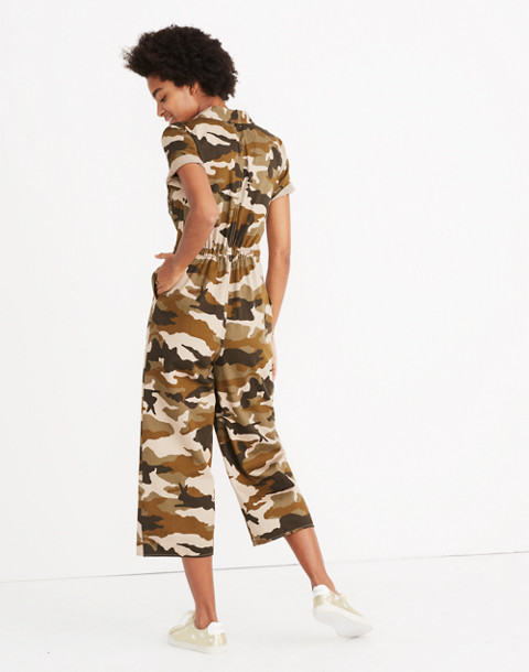 Wide-Leg Utility Jumpsuit in Cottontail Camo in bunny camo asparagus image 3