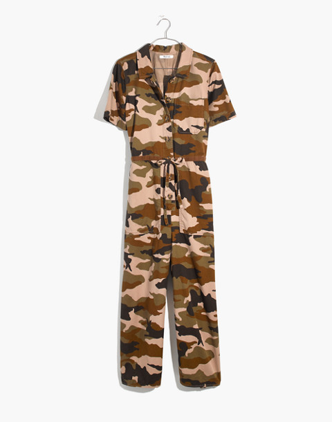 Wide-Leg Utility Jumpsuit in Cottontail Camo in bunny camo asparagus image 4