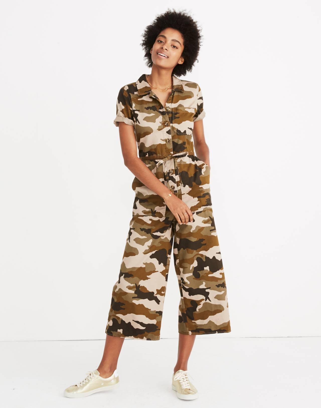 Wide-Leg Utility Jumpsuit in Cottontail Camo in bunny camo asparagus image 1
