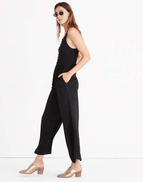 Smocked Button-Front Crop Jumpsuit in true black image 2