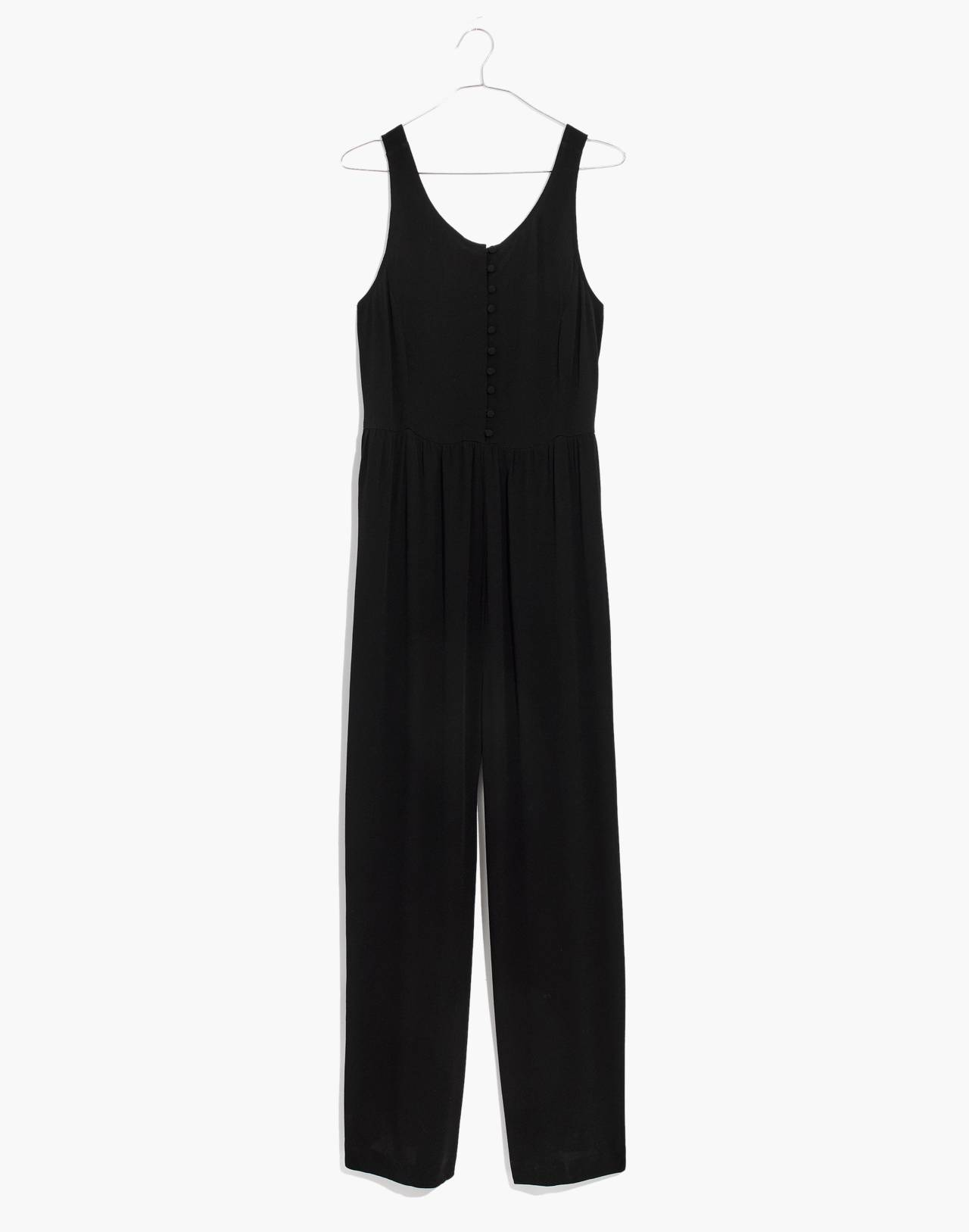 Smocked Button-Front Crop Jumpsuit in true black image 4