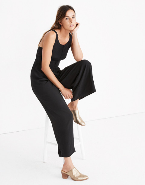 Smocked Button-Front Crop Jumpsuit in true black image 1