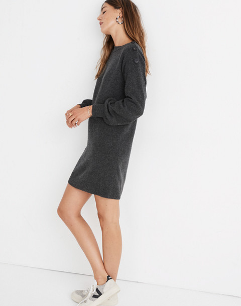 Boatneck Button-Shoulder Sweater-Dress in hthr carbon image 2