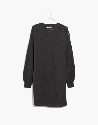 Boatneck Button-Shoulder Sweater-Dress in hthr carbon image 4