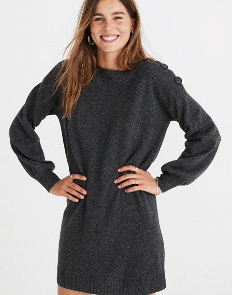 Boatneck Button-Shoulder Sweater-Dress in hthr carbon image 1