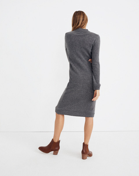 Cashmere Midi Sweater-Dress in heather stone image 2