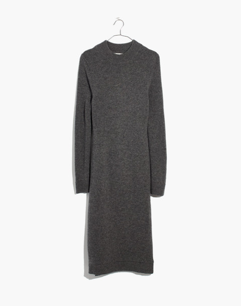 Cashmere Midi Sweater-Dress in heather stone image 3