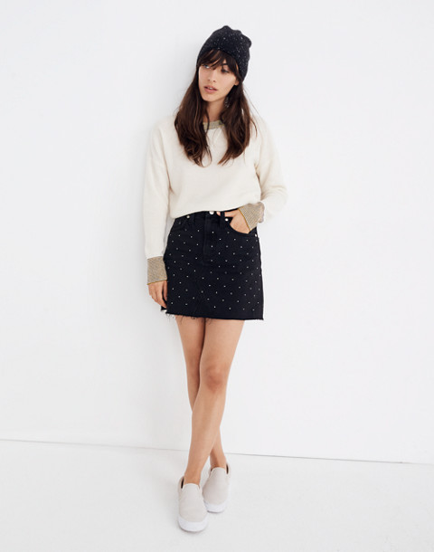 Rigid Denim A-Line Mini Skirt: Metallic Dots Edition in lunar wash image 2