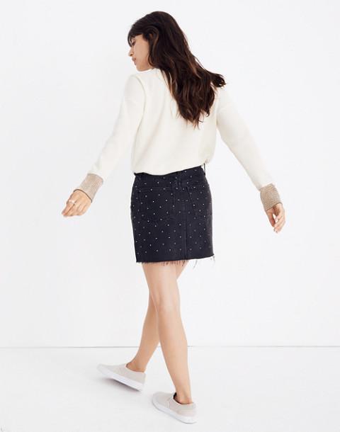 Rigid Denim A-Line Mini Skirt: Metallic Dots Edition in lunar wash image 3