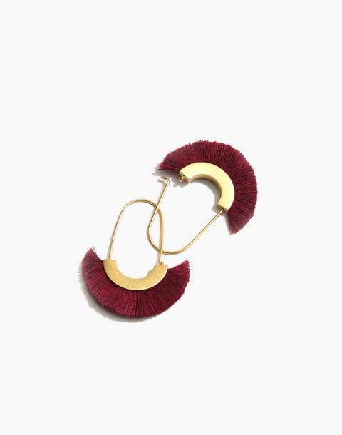 Arc Wire Fringe Earrings in bright garnet image 1
