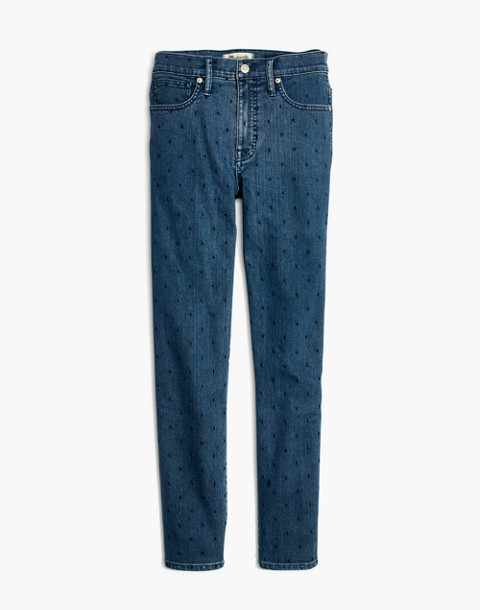 Slim Straight Jeans: Navy Dot Edition in gower wash image 4