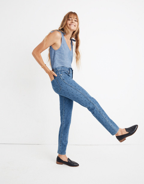 Slim Straight Jeans: Navy Dot Edition in gower wash image 1