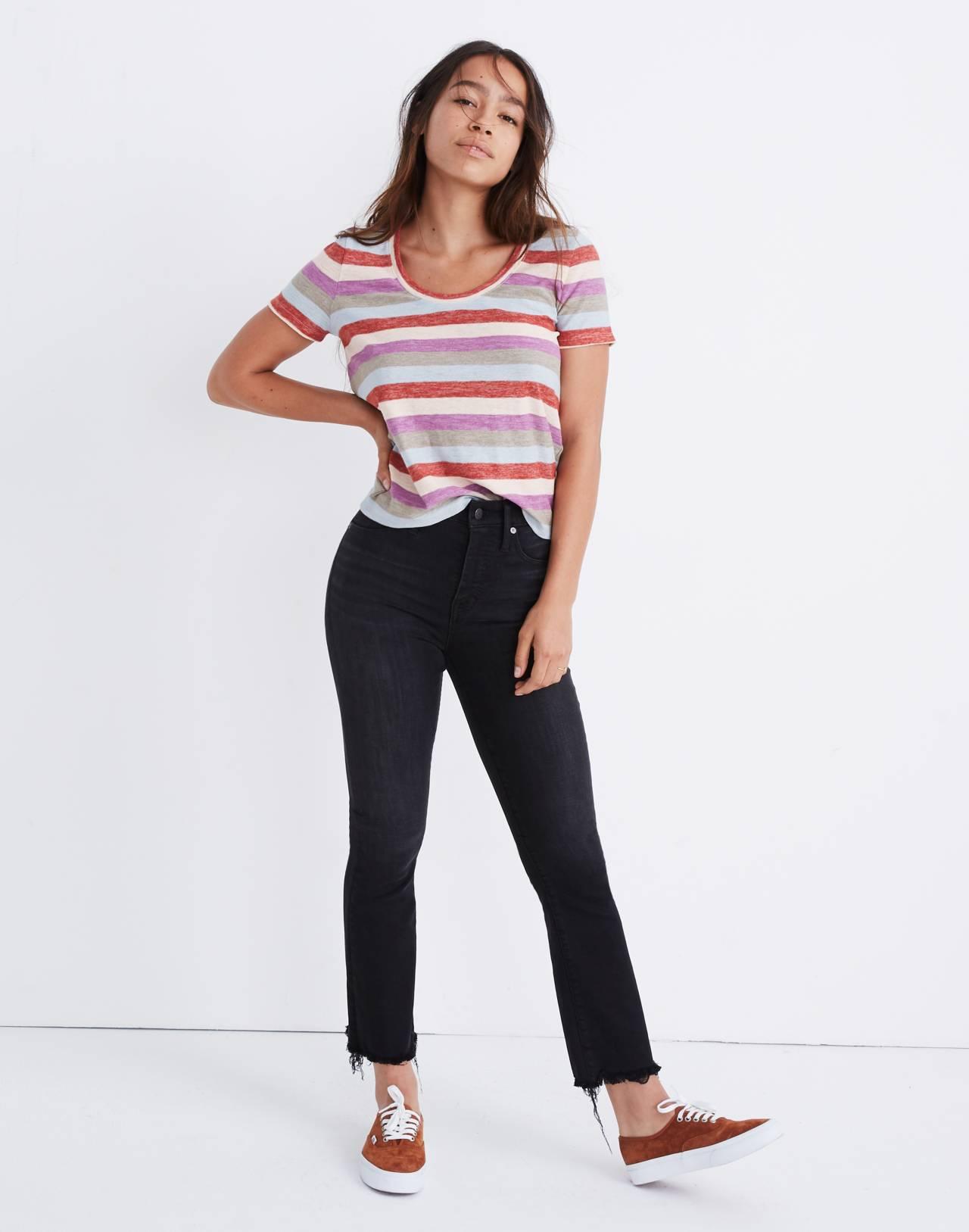 Petite Curvy Cali Demi-Boot Jeans in Berkeley Black: Chewed-Hem Edition in berkeley wash image 2