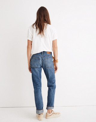 Rivet & Thread High-Rise Slim Boyjeans: Thigh-Patch Edition in bellemoor wash image 3