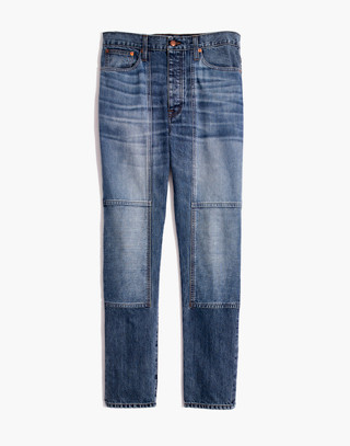 Rivet & Thread High-Rise Slim Boyjeans: Thigh-Patch Edition in bellemoor wash image 4