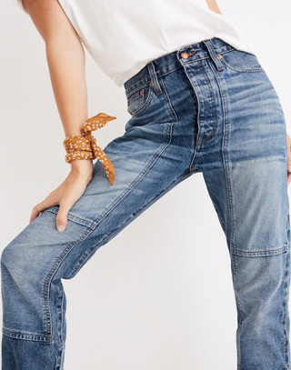 Rivet & Thread High-Rise Slim Boyjeans: Thigh-Patch Edition in bellemoor wash image 1