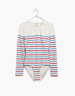 Solid & Striped® Margot Sleeved One-Piece Swimsuit in Breton Stripe