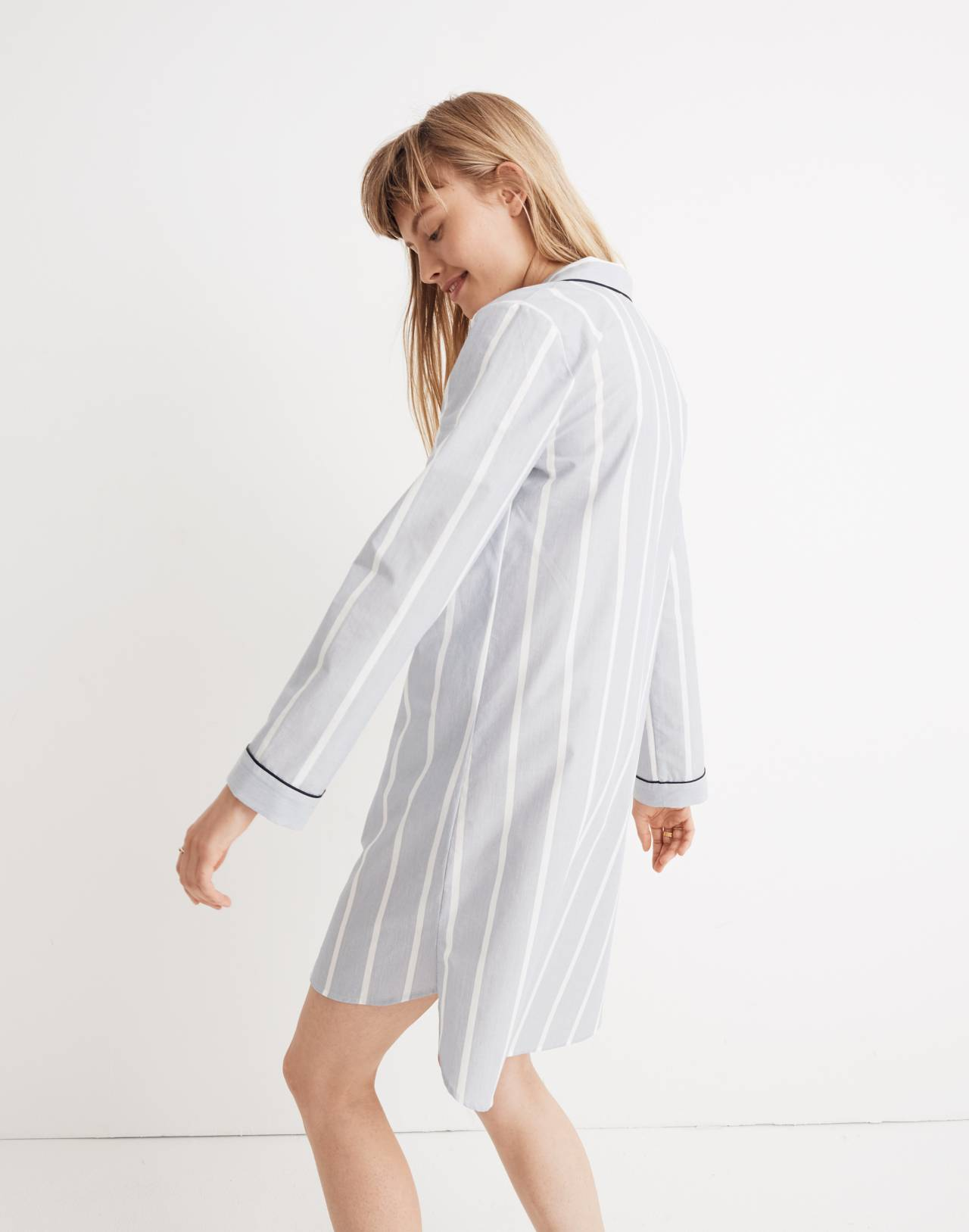 Bedtime Nightshirt in Dark Sea Stripe in dark sea image 2