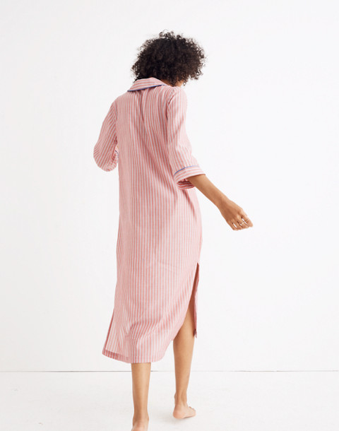 Bedtime Long Nightshirt in Cranberry Stripe in cranberry image 3