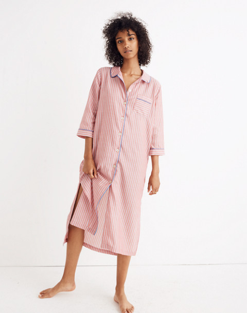 Bedtime Long Nightshirt in Cranberry Stripe in cranberry image 1