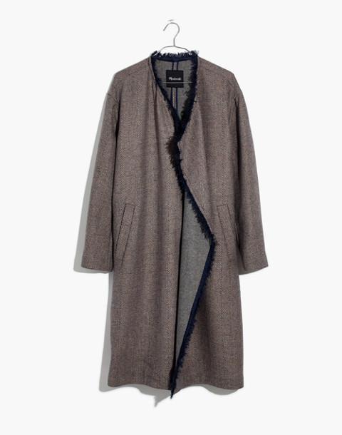 Fringed Herringbone Robe Coat in soft twilight image 4