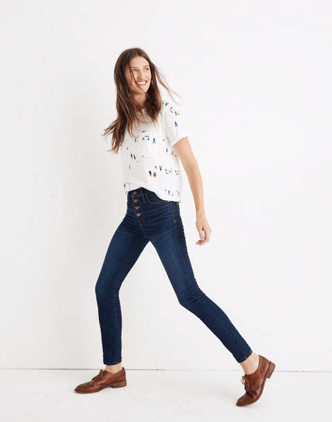 "Tall 9"" High-Rise Skinny Jeans in Hayes Wash: Button-Front Edition in hayes wash image 3"