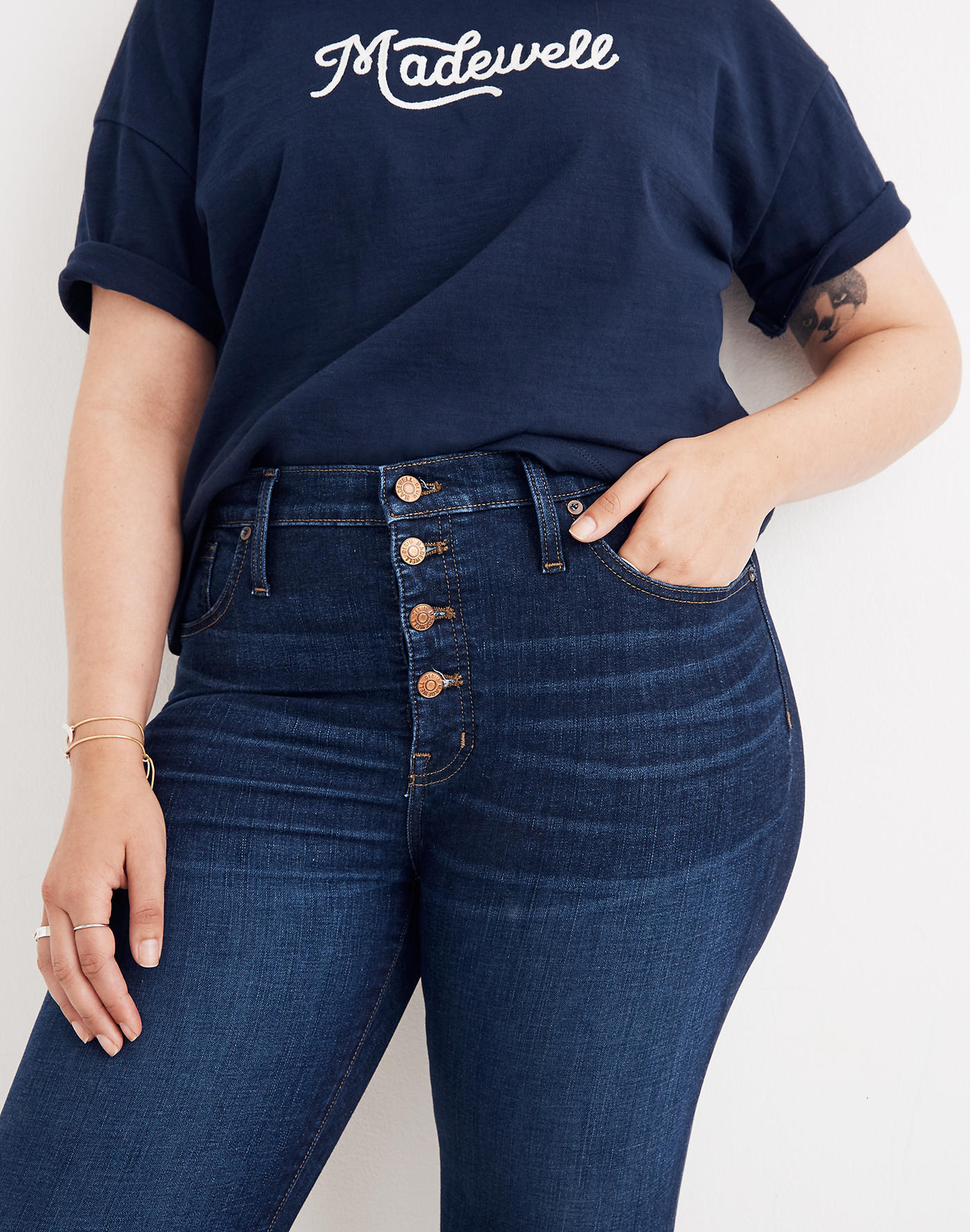 Madewell 9 Mid-Rise Skinny Jeans in Hayes Wash: Button-Front Edition