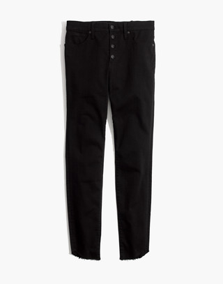 "Tall 10"" High-Rise Skinny Jeans: Tulip-Hem Edition in black frost image 4"