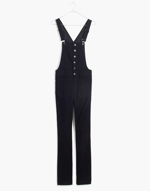 Skinny Overalls in Black Frost: Button-Front Edition in black frost image 4