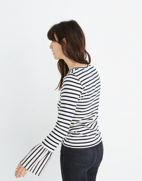 Stripe-Play Ruffle-Cuff Top in linen image 3
