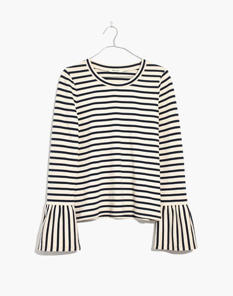 Stripe-Play Ruffle-Cuff Top in linen image 4