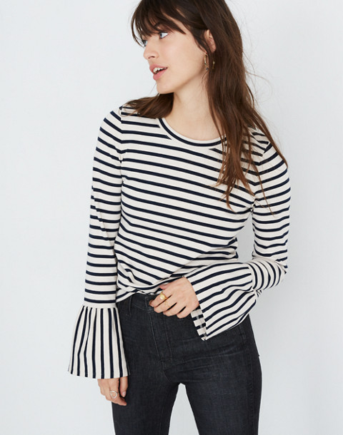 Stripe-Play Ruffle-Cuff Top in linen image 1