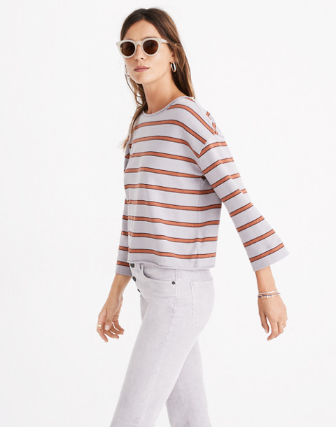Striped Boatneck Tee in violet tint image 3