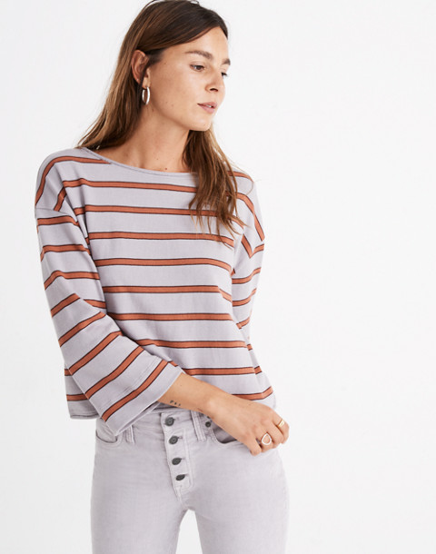 Striped Boatneck Tee in violet tint image 1